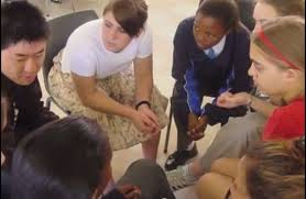 Students sitting in a group discussion